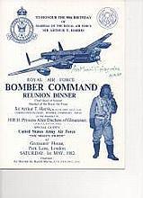 MRAF Sir Arthur T Harris Signed RAF Bomber Command Reunion Invitation [25x2