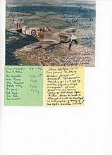 Maj Gen CW McColpin & 10 Pilots Signed Photograph of 133 Eagle Sqn Spitfire