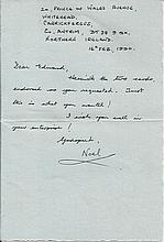 Sqn Ldr Noel Corry DFC, Small handwritten and signed letter by Battle of Br