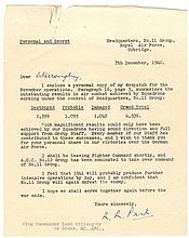 Keith Park signed typed letter to Wg Cdr Lord Willoughby de Broke MC AFC wi