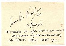 James B Nicholson VC signed piece with his 249(f) Sqn annotated Autograph o