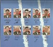 Red Arrows poster folded signed by the Ten members with first names only. G