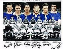 Chelsea FC 1954/55 League Champions Signed By Blunstone-Lewis-Bentley-Saund