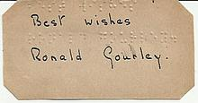 Ronald Gourley signed small card Good condition.