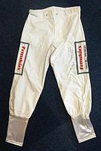 Frankie Dettori autographed silk breeches 1. Unusual piece of horse racing