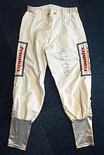 Frankie Dettori autographed silk breeches 2. Unusual piece of horse racing