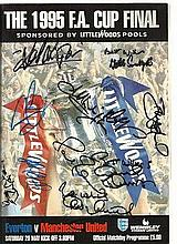 Multi-signed FA Cup Final programme. 1995 FA Cup Final programme, Everton v