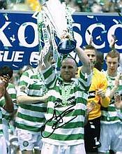 John Hartson Celtic FC Trophy Celebration Hand Signed 10 X 8 Good Condition