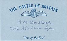 Sgt N.N. Woodland, Battle of Britain blue card signed by Battle of Britain