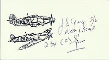 P/O J S Young, Small card with illustration of Hurricane and Spitfire, auto