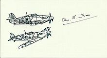 Flt Lt Alex Thom DFC, Small card with illustration of Hurricane and Spitfir