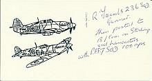 Sgt J R Tooms Small card with illustration of Hurricane and Spitfire, autog