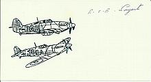 Sgt R.E.B. Sargent, Small card with illustration of Hurricane and Spitfire,
