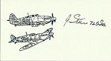 Flt Sgt J Steere Small card with illustration of Hurricane and Spitfire, au