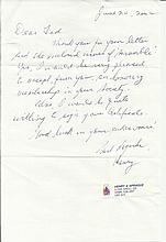 P/O H A Sprague, Letter handwritten and signed on one side by Canadian Batt