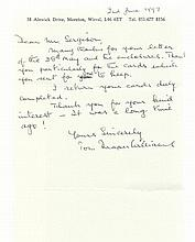 F/O T D Williams, Handwritten and signed letter by Battle of Britain vetera