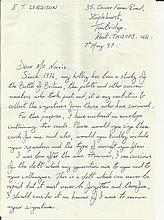 F/O R W Norris, Reply on original letter signed by Canadian Battle of Brita