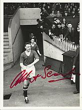 Albert Scanlon signed photo. Black and white 8x6 photograph signed by Busby