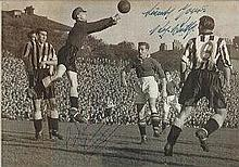 Roy Bentley and Ron Simpson signed football photo. Nice 24cm x 17cm black a