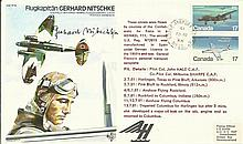 Flugkapitan Gerhard Nitschke signed on his own TP