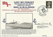 Ludovic Kennedy signed HMS Rawalpindi cover Lest
