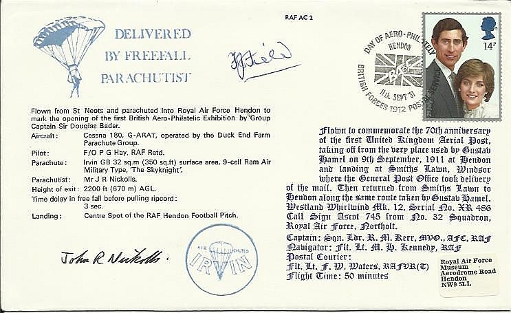 Francis Field signed AC2c1st UK Aerial Post cover