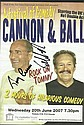 Cannon & Ball comedy duo signed colour promo leaflet for their tour mounted to 12 x 8 black card