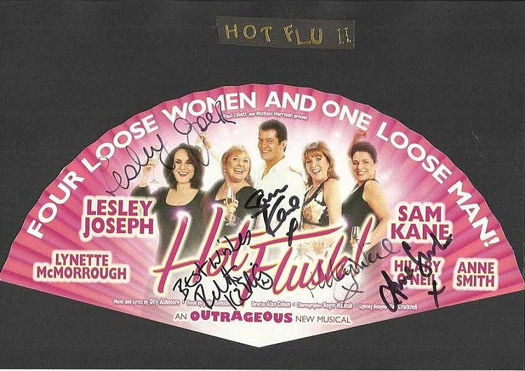 Lesley Joseph, Sam Kane, Anne Smith + 2 signed theatre programme for the play hot flush mounted to 12 x 8 black card