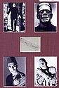 Boris Karloff Cut Signed Paper Piece. 4 Monster