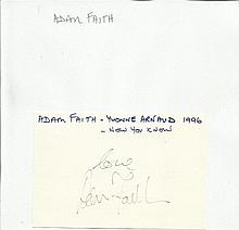 Adam Faith signed 6 x 4 size white card lightly