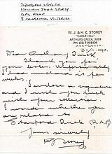 Letter from SQUADRON LEADER WILLIAM JOHN STOREY