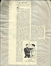 Sir John Gielgud A4 sized typed vintage review for