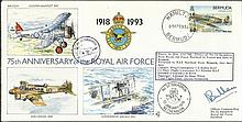 Wg Cdr Bullen OC 32 Sqn signed 75th ann. RAF cover