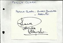 Petula Clark signed 6 x 4 size white card lightly