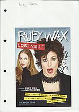 Ruby Wax signed colour flyer for play Losing It