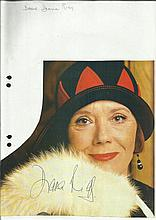 Diane Rigg signed colour magazine photo fixed to