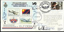 WW2 aces Multisigned 75th ann. RAF cover Stampex