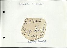 George Formby small irregularly shaped autograph