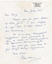 Letter. FLIGHT LIEUTENANT PETER RAYMOND HAIRS MBE.