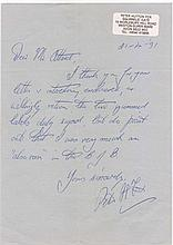 Letter. WARRANT OFFICER PETER HUTTON FOX. Sergeant
