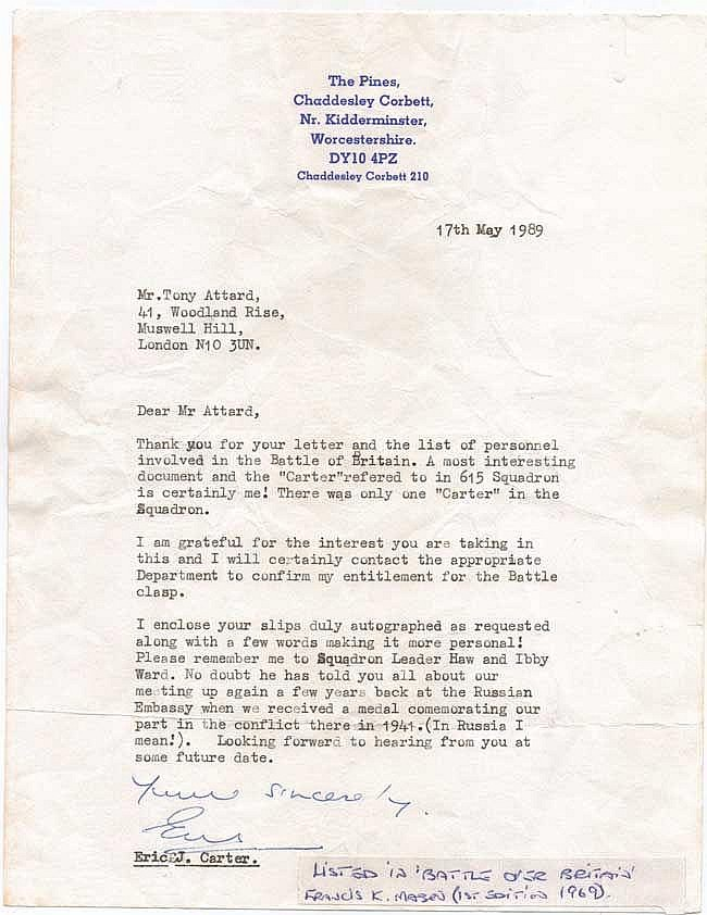Eric Carter 615 Sqn signed typed letter about his