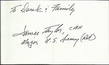 CMH winner Small index card autographed by James Taylor who won the Medal of Honor for his actions i