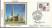 Rt Rev David Stancliffe 1982 Benham small silk cover Christmas Salisbury Cathedral, with Salisbury p