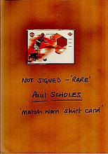 Paul Scholes rare limited edition match worn shirt trade card not signed.  Good condition