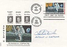 1969 APOLLO 11 MOON LANDING FDC SIGNED CHARLIE DUKE CAPCOM.  FIRST MAN TO SPEAK TO A HUMAN FROM ANOT