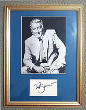 Tony Bennett framed autograph. 45cm x 34cm framed autograph of crooner Tony Bennett. Undedicated sig