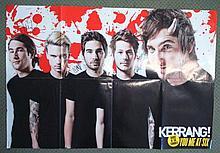 You Me At Six autographed poster. Large 80cm x 56cm colour poster of the rock band You Me At Six, au