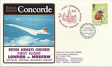 Concorde first flight London Moscow and return dated 12Th and 13th April 1985.  Flown by Capt J Brad