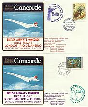 Concorde first flight London Rio de Janeiro and return dated 5/6/7th April 1985.  Flown by Capt J W