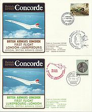 Concorde first flight London Luxembourg and return dated 31 March 1985.  Flown by Capt N A Burton. G